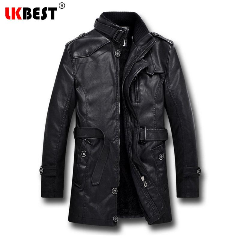 6f57295b992 2018 Wholesale Lkbest 2017 Men Long Leather Jacket Winter Black Thick Winter  Jacket Men Casual Motorcycle Jacket Brand Mens Overcoat Py06 From Roberr