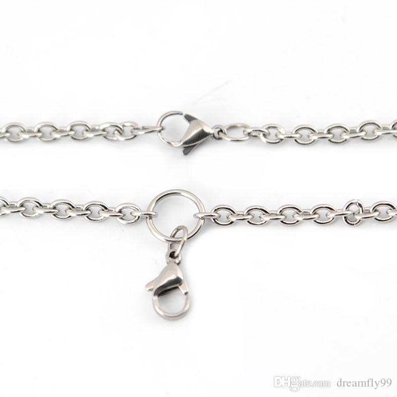 10 stücke 20 '' 316L edelstahl 1,0mm 3,6mm flachkabel O jumpring kette halskette für lebende glas medaillons öl Diffusor Medaillon