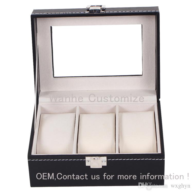 3Grids/slots PU Leather MDF Strong Board with pillow watch boxes wholesale grid watch display box storage box watch case 3 rangement bijoux