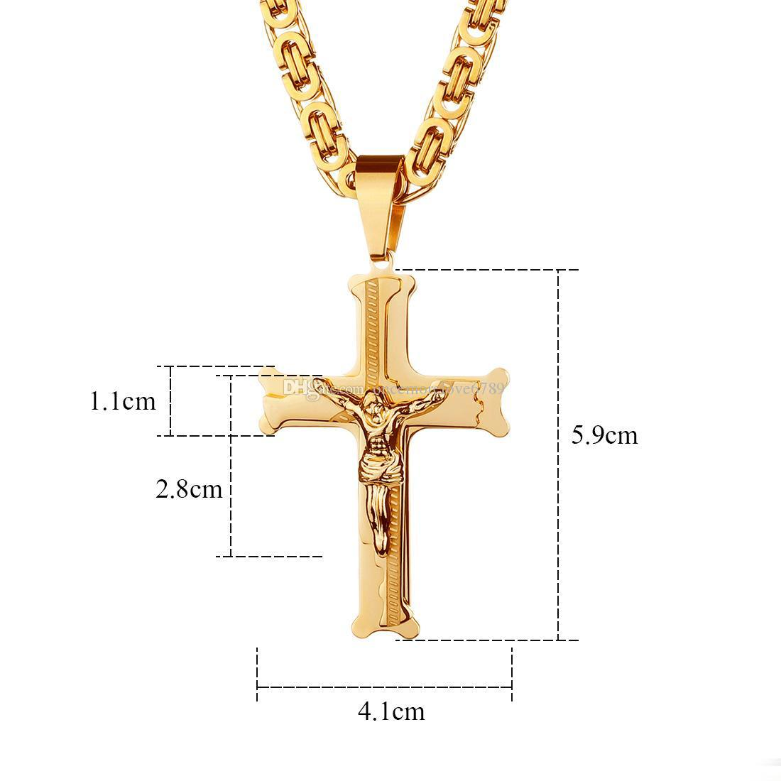Hip Hop jewelry Men's Cross necklaces Titanium steel Christian Jesus Crosses pendant Gold Filled Chains For women s Fashion Jewelry Gift