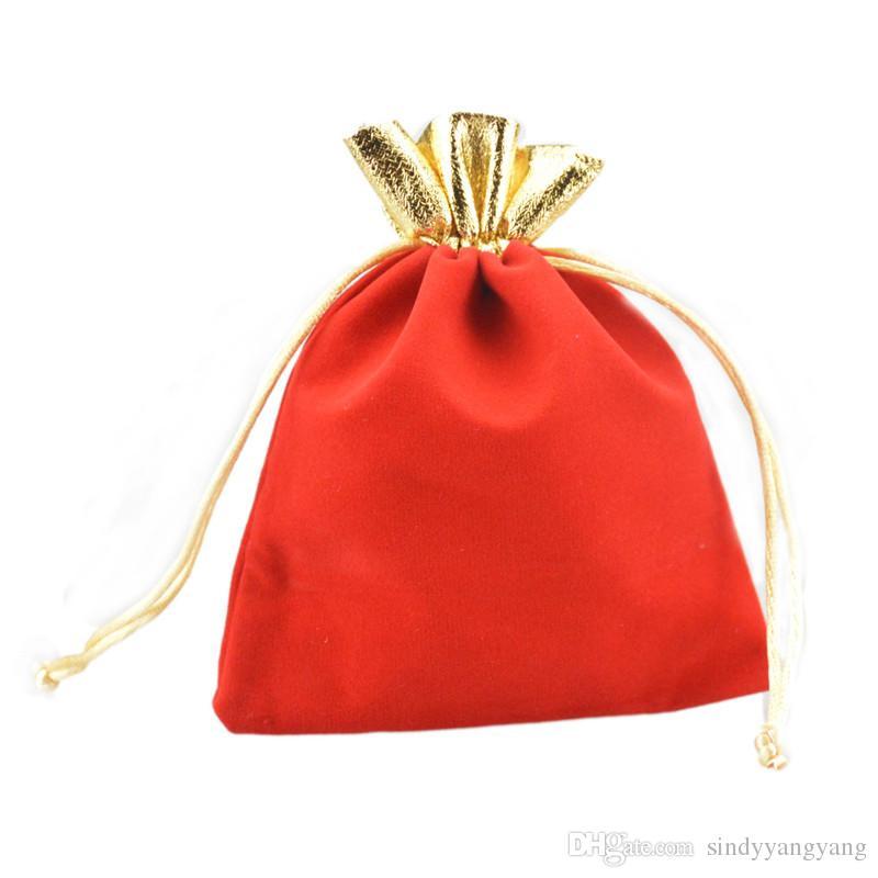 Velveteen Velvet Gold Trim Drawstring Jewelry Gift String Christmas/Wedding Bags Poucheses Print Logo Custom Design 12x15cm 4.7x5.9''