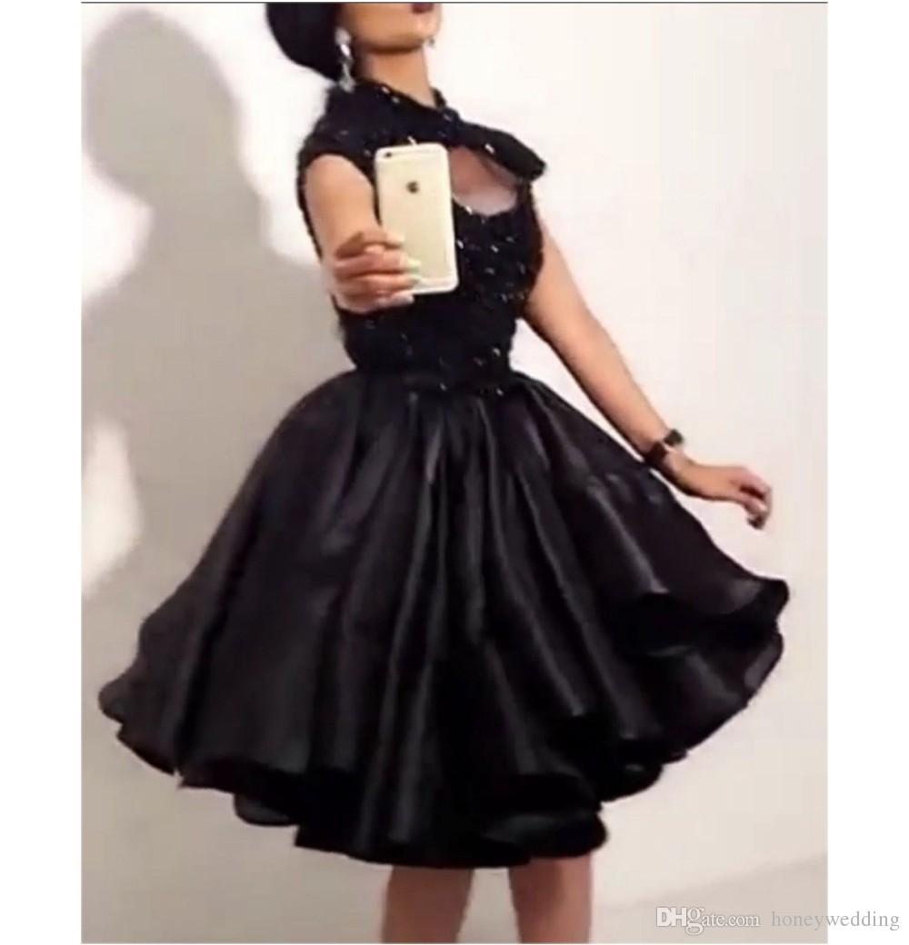 리틀 블랙 쇼트 홈 커밍 드레스 하이 넥 페르시 아른 스커트 드레이프 청소년 8 학년 졸업 칵테일 파티 드레스 저렴한