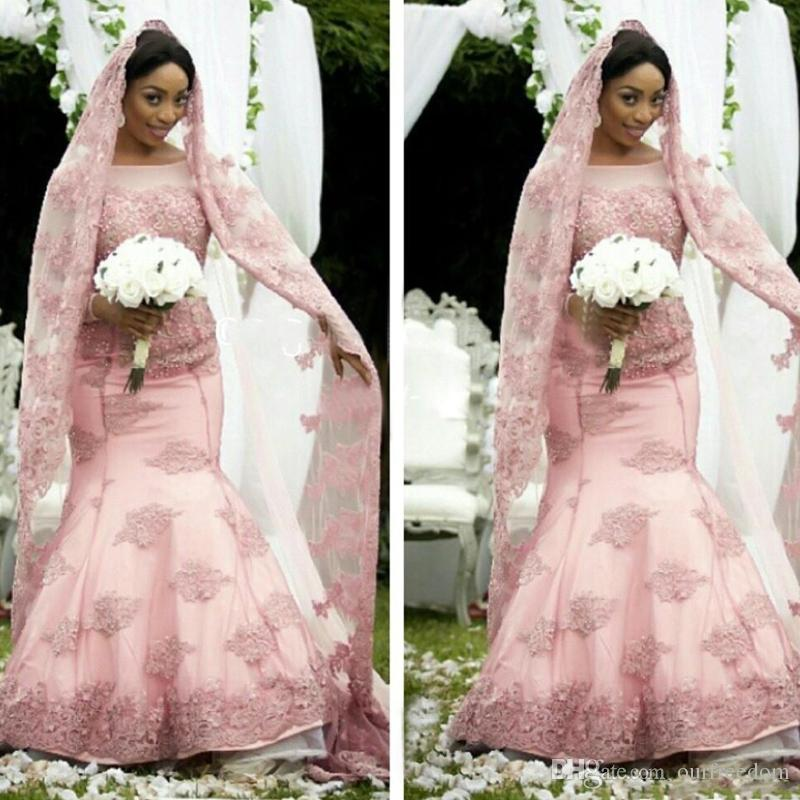2016 Elegant African Pink Mermaid Wedding Dresses Long Sleeve Sheer Jewel Neck Muslim Bridal Gown For Fall Winter Wedding With Free Veils