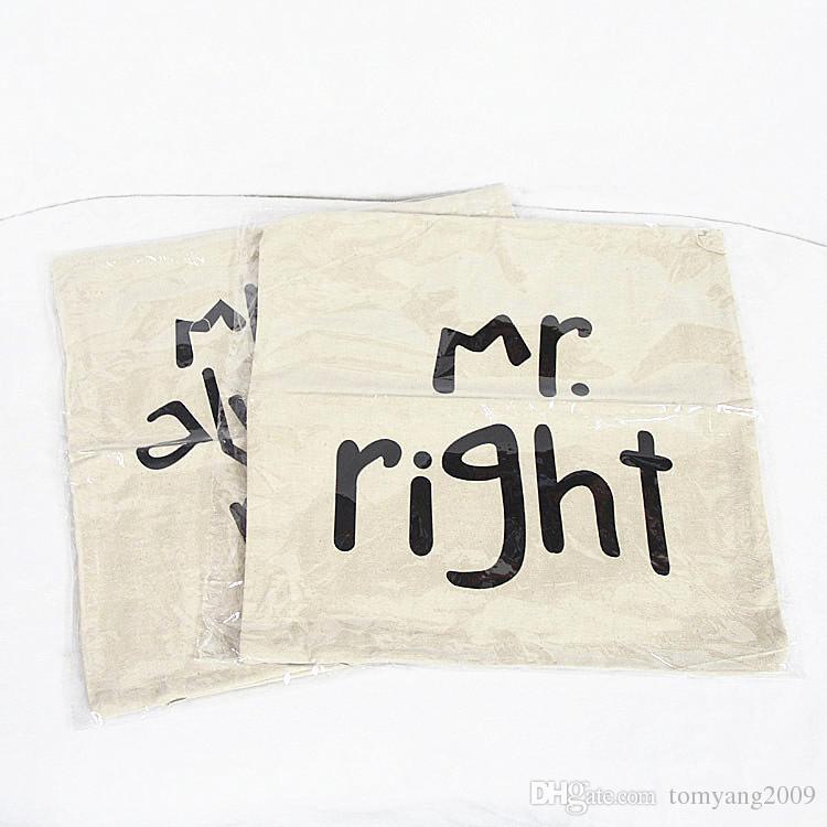 Mr Right Funda de almohada Mrs Always Right Linen Car Home Accesorries Fundas de cojines Fundas de almohadas Lovely Pillow cover