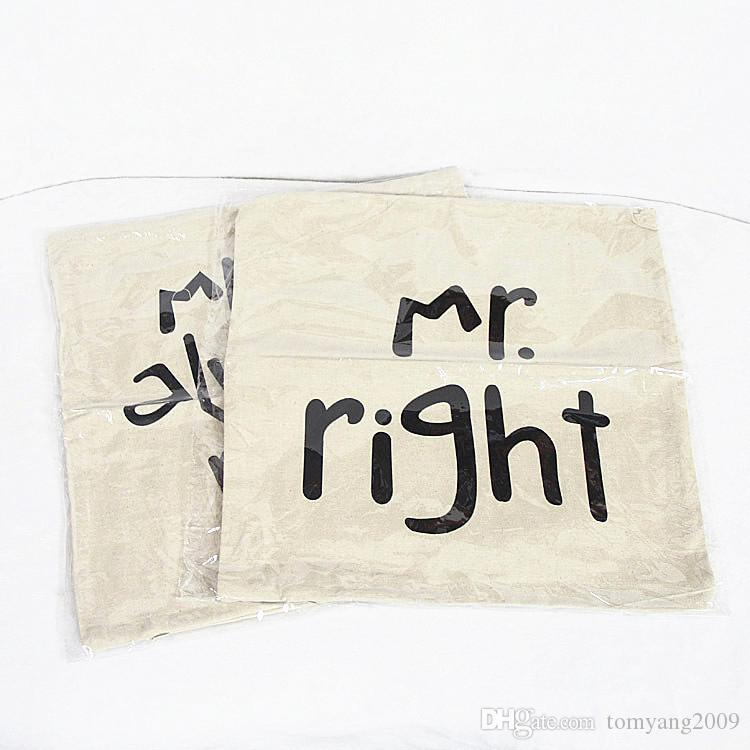 Mr Right Pillow Case Mrs Always Right Linen Car Home Accesorries Cushion Covers Pillow Cases Lovely Pillow cover