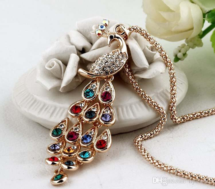 New Arrival Women Pendant Necklace Peacock Pendant Crystal Sweater chain Necklace Popcorn Gemstone Jewelry Women Fashion Wholesale