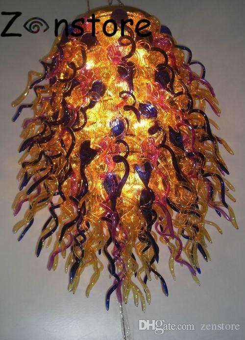 Golden Forest Chandelier- Tiered Golden Glass Chandelier Art Glass Lamp 100% Hand Blown Glass Chandelier Light Fixture