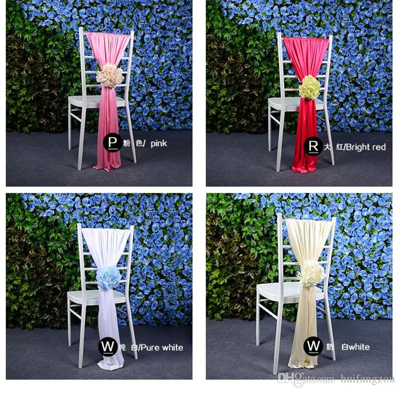 Creative Colorful Chair Sashes Wedding Favors Hot Sale Elastic Party Flowers Chair Decorations Beige Blue Pink Chair Covers