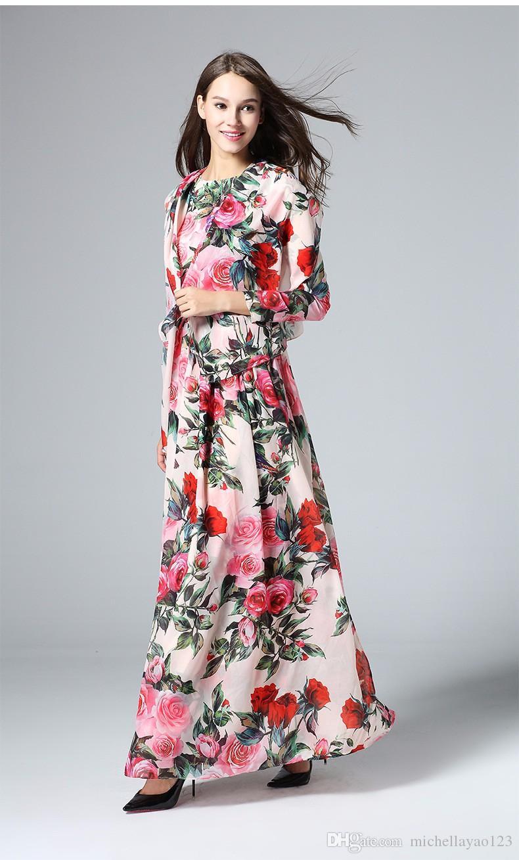 078565e4ab1 Großhandel Elegantes Kleid 2016 Frühling Sommer Mode Runway Pailletten  Langarm Marke Rose Blumen Gedruckt Schal Rosa Frauen Langes Kleid Von  Michellayao123