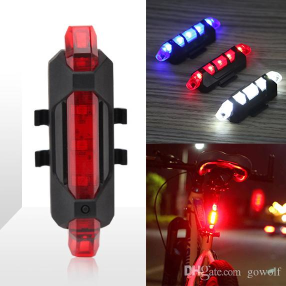 Bicycle 5-LED 4 Mode Red Front Tail Warning Light Bike Cycling Warning Lamp Waterproof free shipping