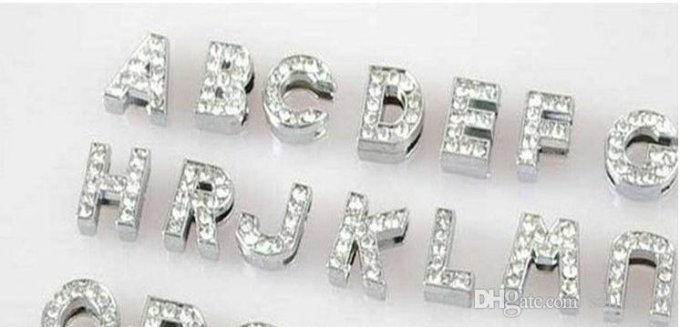 26 inglese A ~ Z bianco lettere di strass collari di cane in pelle PU collari di diamanti collari di cane fai da te mix ordine spedizione gratuita