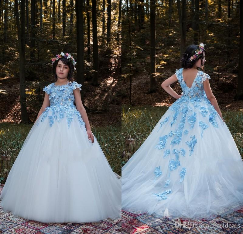 2018 Beautiful White Flower Girls Dresses With Blue Flowers Princess Floor Length Kids Birthday Evening Prom Wear Pageant Gowns