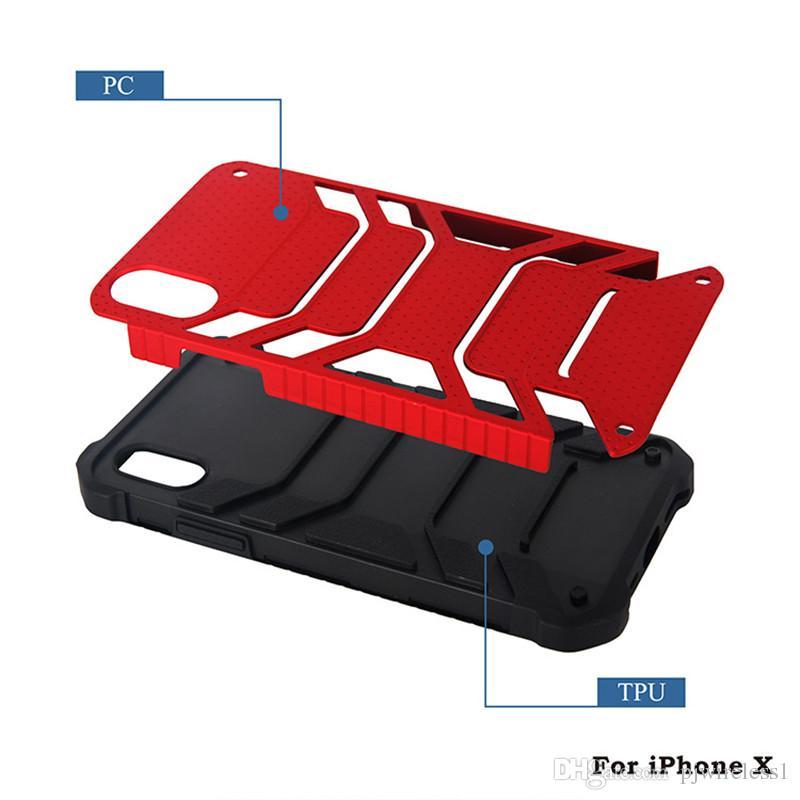 Custodia armatura ibrida iphone x xr xs max samsung nota 9 s9 plus Custodia protettiva a doppio strato con sacchetti opp