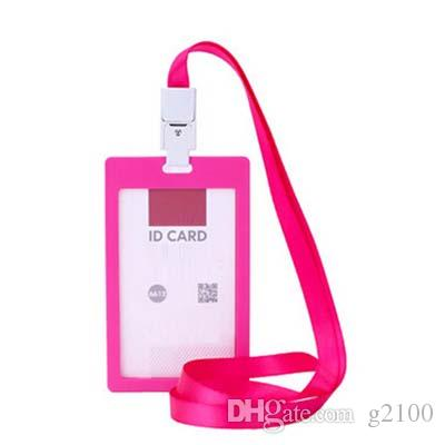 Stylish High quality Colorful plastic Business ID Badge Card Vertical Holders with Neck Strap Lanyard