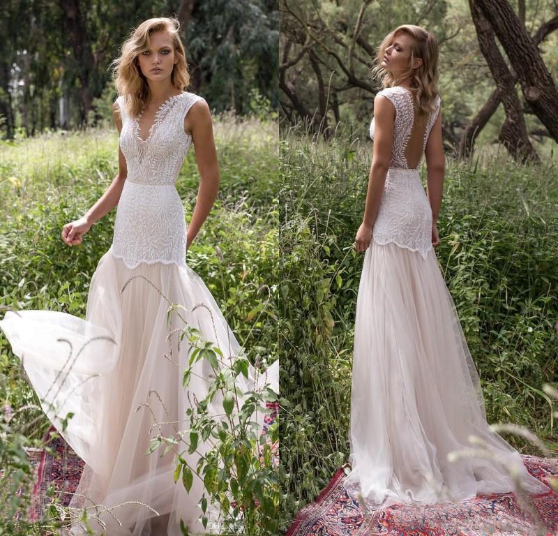 Lace Country Mermaid Wedding Dresses Deep V Neck Backless Sleeveless ...