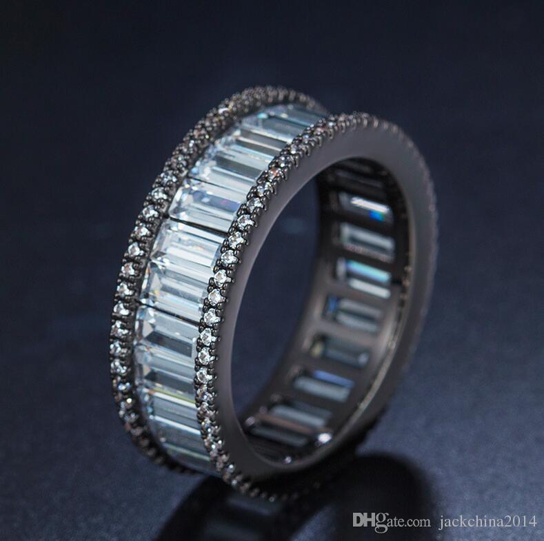 Victoria Wieck Gioielli di lusso più venduti 10KT Oro bianco Filled Princess Cut Topaz Oro rosa Nero CZ Diamond Women Wedding Band Ring Regalo