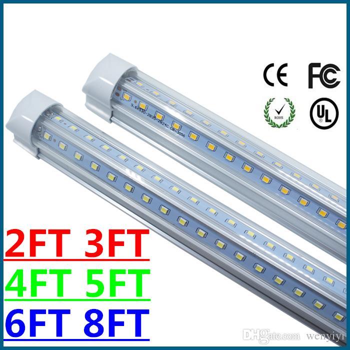 V-Shaped 2ft 4ft 5ft 6ft 8ft Led Tube Light T8 Integrated Led Tubes Double  Sides SMD2835 Led Fluorescent Lights AC85-265V CE RoHS FCC