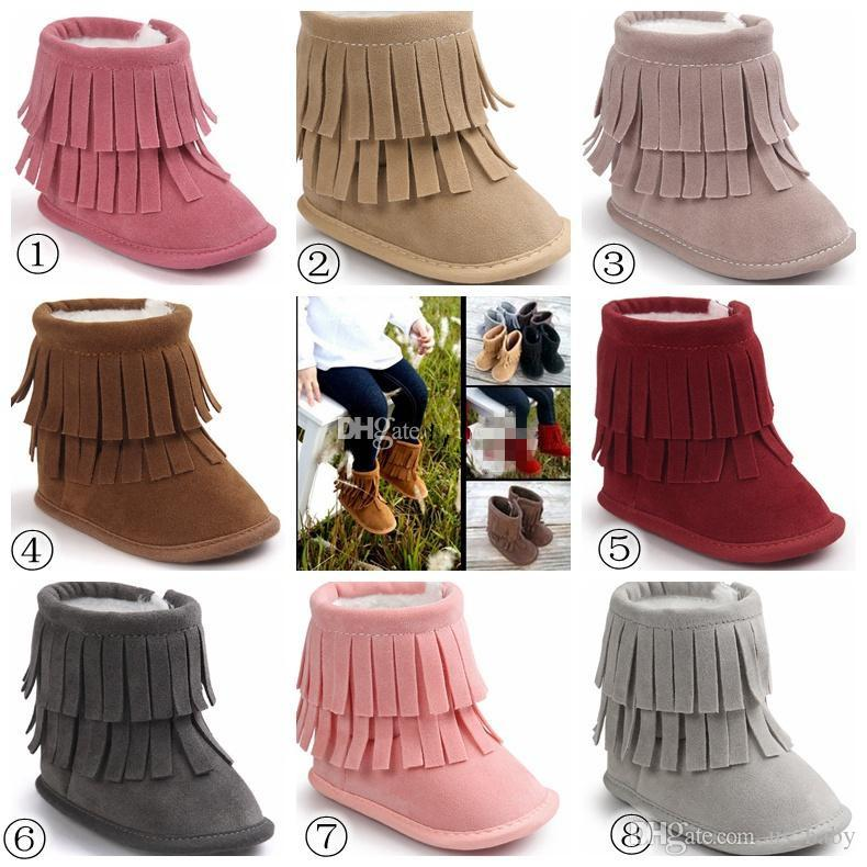 2017 Baby 2Layer Fringe Style Boots