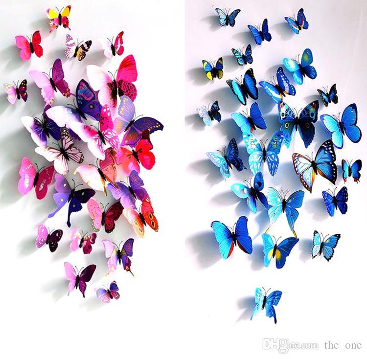 سندريلا فراشة 3d فراشة الديكور ملصقات الحائط 12 قطعة 3d الفراشات 3d فراشة pvc القابل للإزالة ملصقات الحائط فراشة في الأسهم