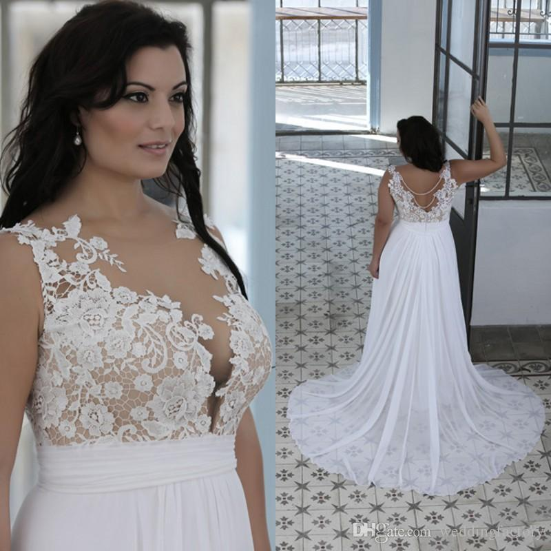 Discount Plus Size Beach Wedding Dresses A Line Sheer Bateau Neck ...