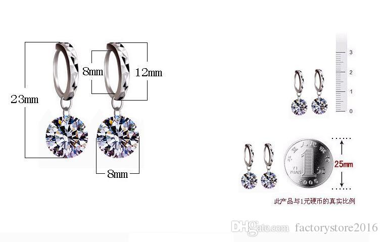925 Sterling Silver Drop Earrings Shambala Crystal Ball Stud Earrings Platinum Plated Round Austria Cubic Zirconia Dangle Charm Jewelry