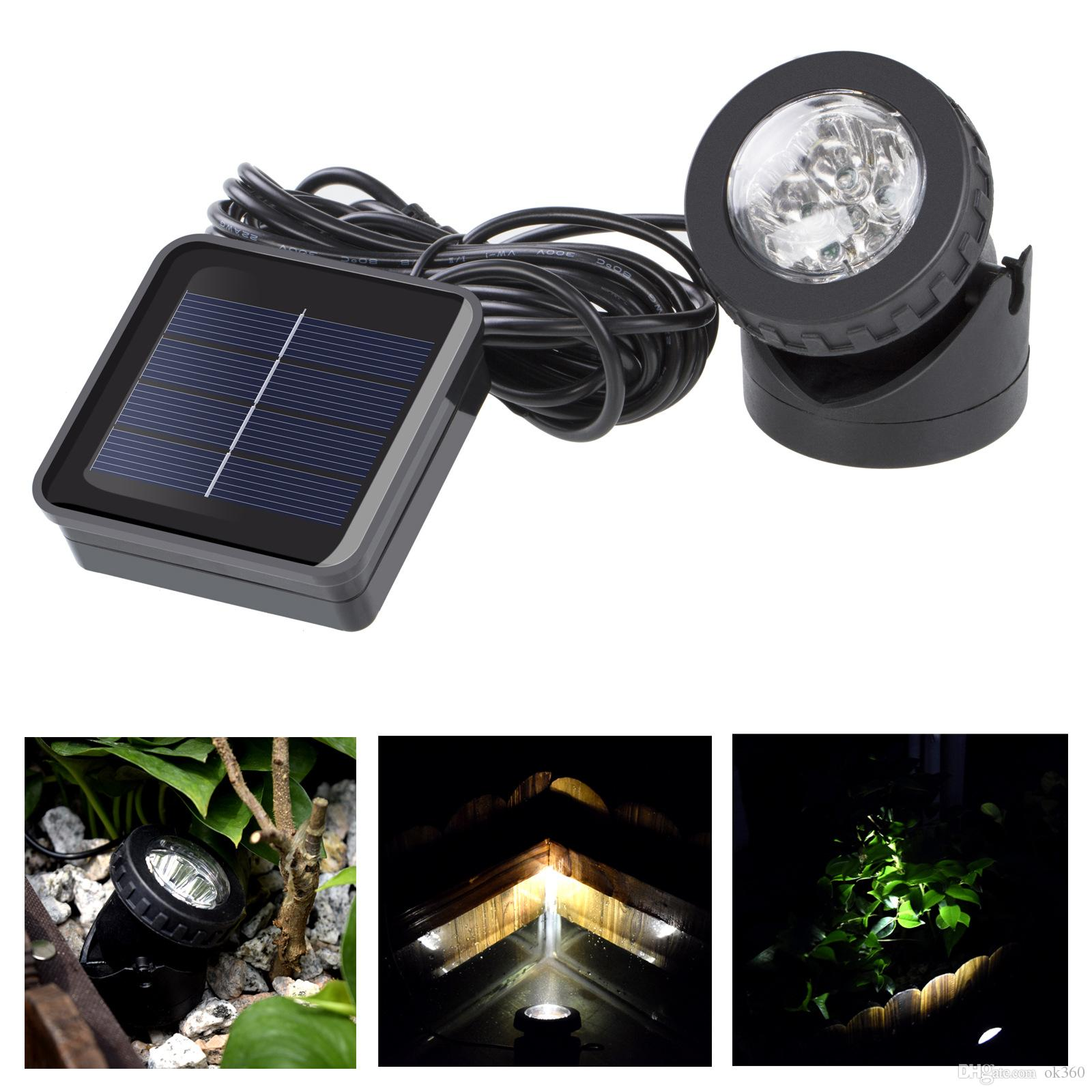 Outdoor Solar Powered 6 LED Spotlight Garden Pool Waterproof Spot