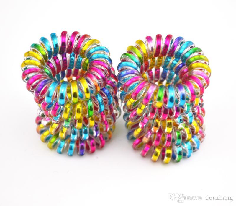 Toptan 100 Adet Renkli Telefon Tel Kordon Hattı Sakız Tutucu Elastik Saç Bandı Kravat Toka 3.5 cm Saç Aksesuarı
