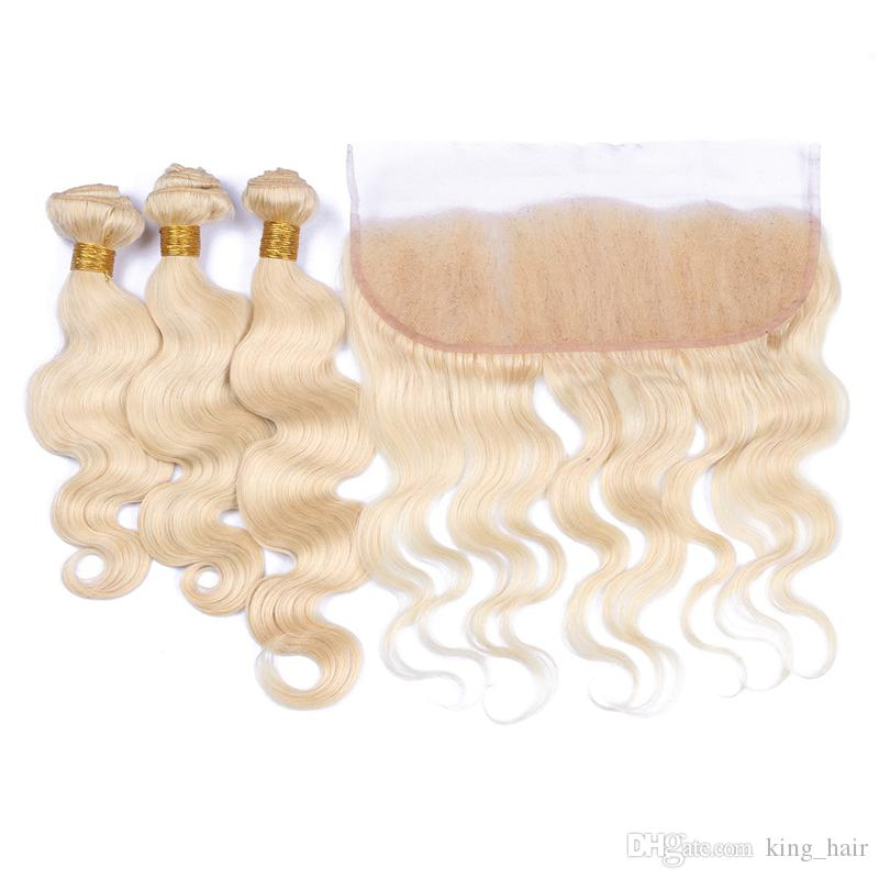 Free Part Blonde 613 Ear To Ear Lace Frontal With Hair Bundles Brazilian Hair Weaves With Lace Frontal With Baby Hair Cheap Price