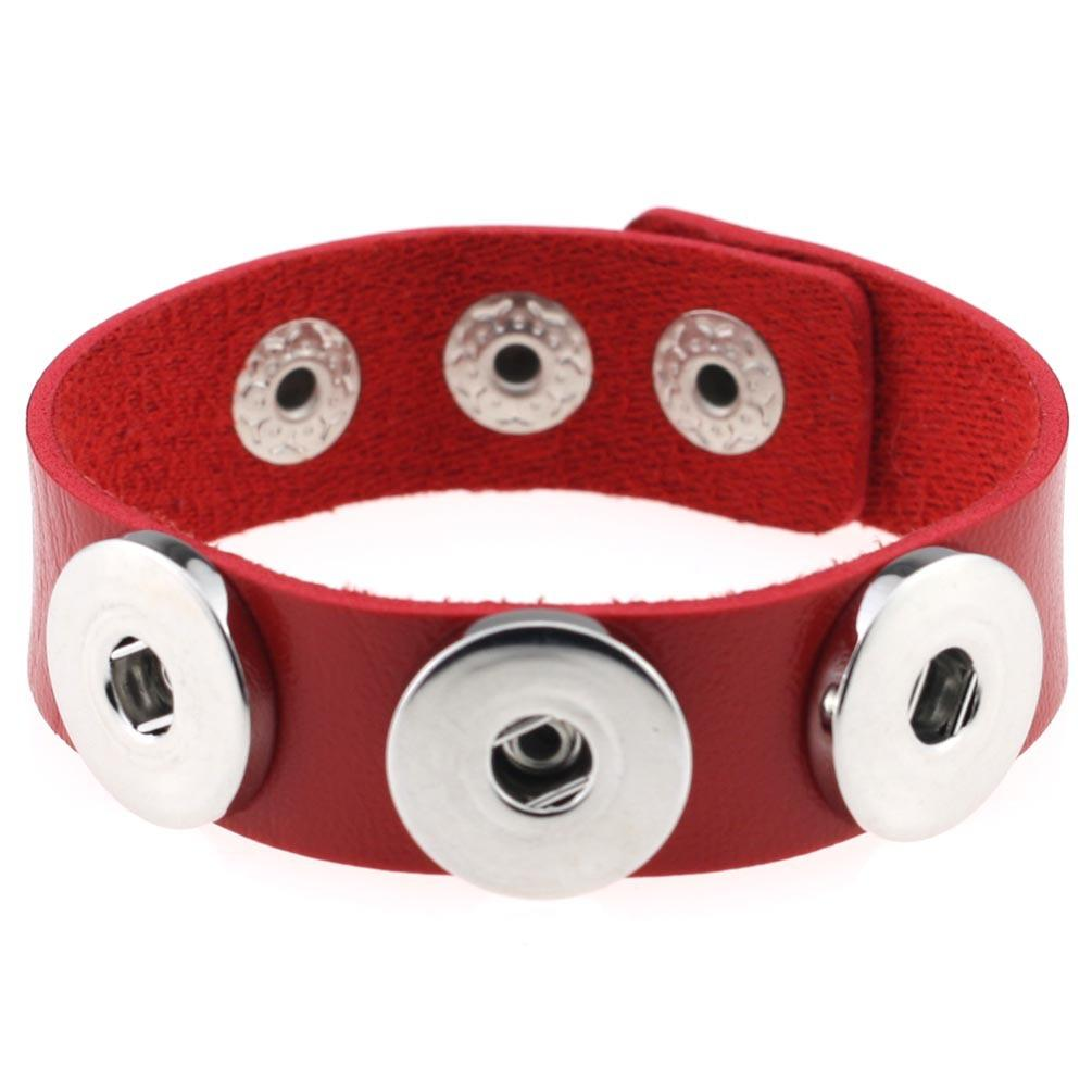 Nuevas pulseras de brazalete de cuero punk de Chunk perforadas para Noosa se ajustan a Charm Button charm Pulseras de Noosa intercambiables Noosa se ajustan brazaletes