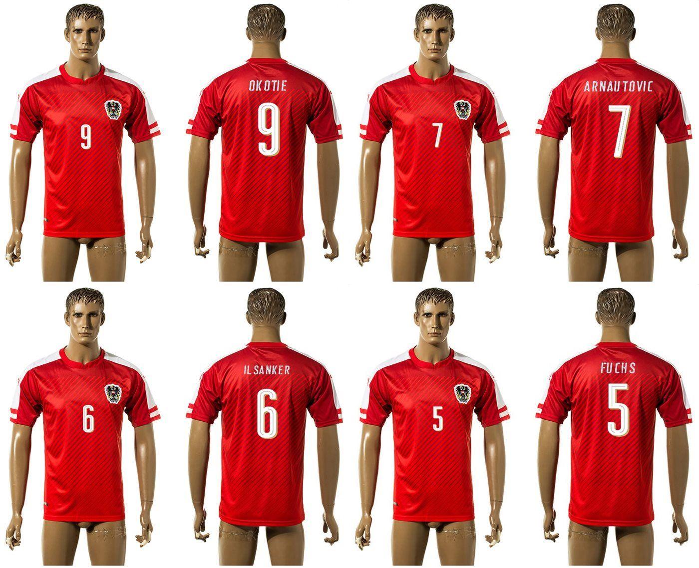 a0daac2e4 Online Cheap 2016 European Cup Austria  5 Fuchs  6 Il Sanker  7 Arnautovic  9  Okotie Soccer Jersey Men S Football Uniform Shirt Custom Name And No.