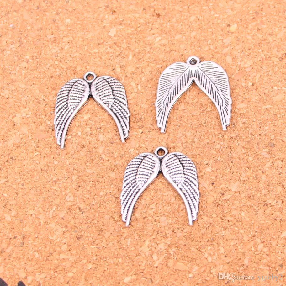 125pcs Antique Silver Plated angel wings Charms Pendants for European Bracelet Jewelry Making DIY Handmade 21*19mm