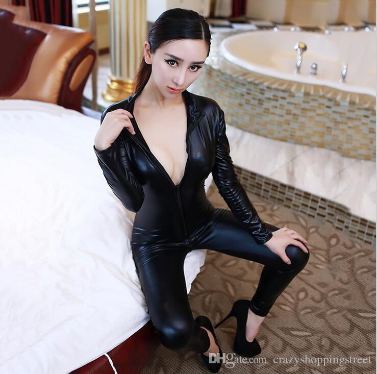 Hot Sexy Women Body Suits Fetish Leather Dress Sexy Black Catwomen Jumpsuit Spandex Latex PVC Catsuit Costumes plus size S-XL