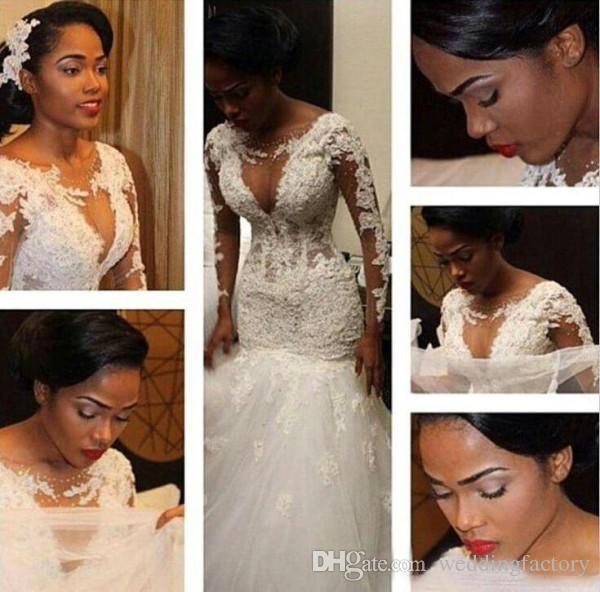 Bedövning illusion bodice sjöjungfru bröllopsklänningar rena långa ärmar spets approps passform och flare brudklänningar puffy tulle kjol skräddarsydda