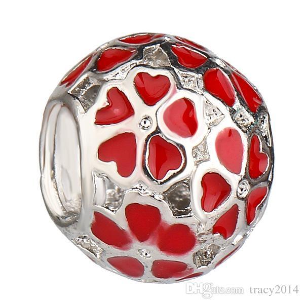 DIY 925 штампованные посеребренная нить ядро муранские бусины цветок мяч свободные шарик DIY ювелирные изделия аксессуары, пригодный для змея цепи