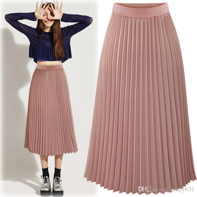 41b8085ea Faldas plisadas rosadas Falda larga de verano de cintura alta para mujer  Gasa blanca y negra elegante Oficina Saia Longa Faldas Largas