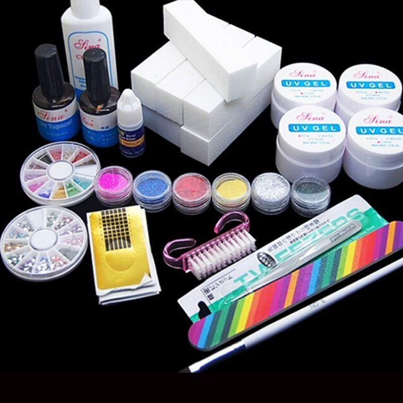 Manicure Set Nail Art Set Acrylic Powder Glitter Glue Clean Brush ...