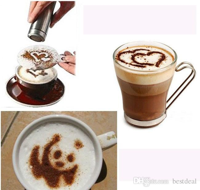 16Pcs/set Coffee Latte Art Stencils DIY Decorating Cake Cappuccino Foam Tool Strew Pad Duster Spray Print Mold Coffee Health & Beauty Tools