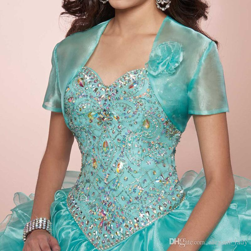 Masquerade Ball Gown Luxury Crystals Princess Puffy Quinceanera Dresses Turquoise Ruffles Vestidos De 15 Dress with Bolero jacket