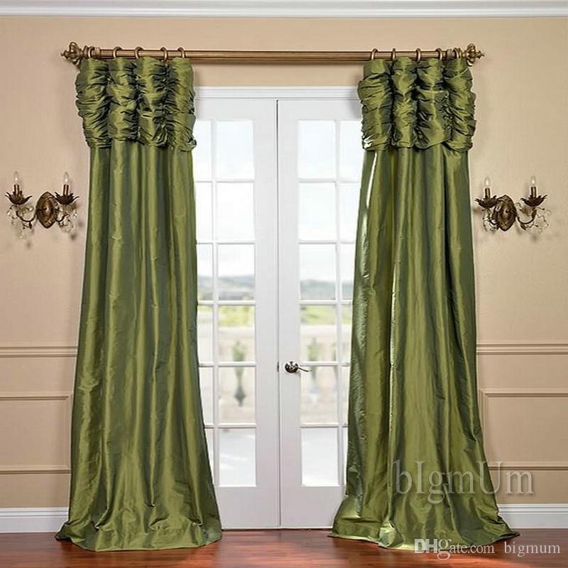 Atacado ! Valência de luxo e painel de cortina Bege / café / verde / em Borgonha / prateado Tratamento de janela pronto feito sob medida