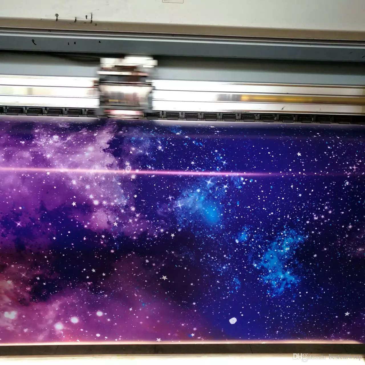 مختلف الألوان المجرة تصميم الفينيل سيارة التفاف السينمائي مع الهواء الشحن التفاف احباط المطبوعة الفينيل التفاف ملصقات السيارة بأكملها تغطي احباط 1.52x30 متر / لفة