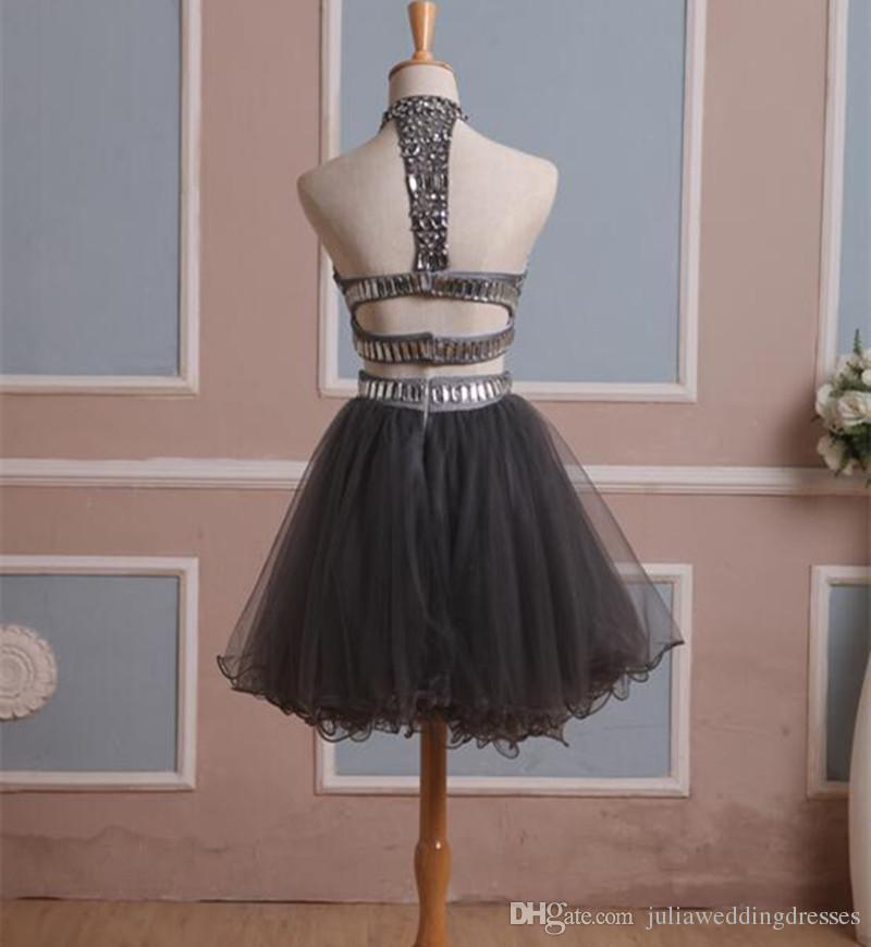 2021 In Stock Real Homecoming Dress Two Pieces Gray Tulle Graduation Gown with Rhinestones High Neck Short Prom Cocktail Party Gown