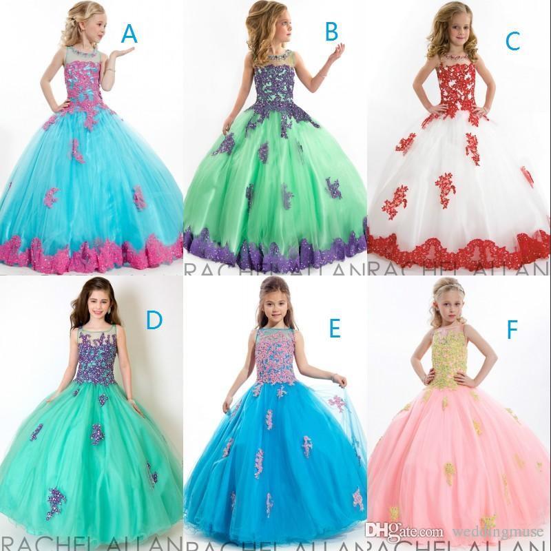 adc0bfb4cf Compre Moda 2019 Vestidos Para Niñas Vestidos De Gala Cuentas Púrpura Y  Jade Verde Encaje Tulle Piso Longitud Niños Vestidos Flowergirl DL755 A   89.7 Del ...