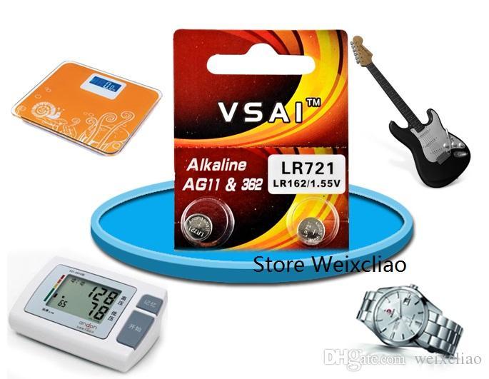 100 pz 1 lotto AG11 LR721 162 361 362 362A SR721 L721 LR58 1.55 V batterie a bottone alcaline batteria a bottone VSAI Spedizione Gratuita