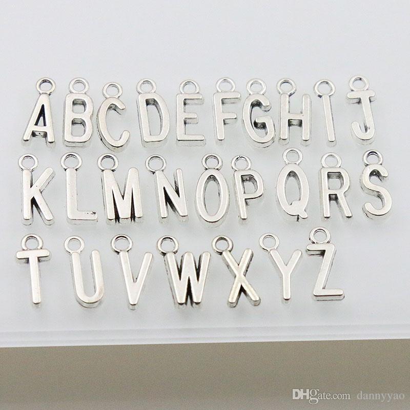 Fascini in lega di alfabeto nuova annata di metallo fascini della lettera iniziale / ogni ulteriore scrittura fascini AAC1198
