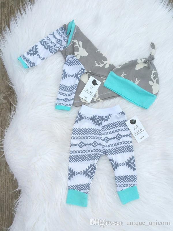 Ragazzi Ragazze Abiti di Natale 2016 Autunno e Inverno Baby Outfits Cervi stampati bambini che coprono gli insiemi Casual manica lunga Tops + PP Pants + Hat