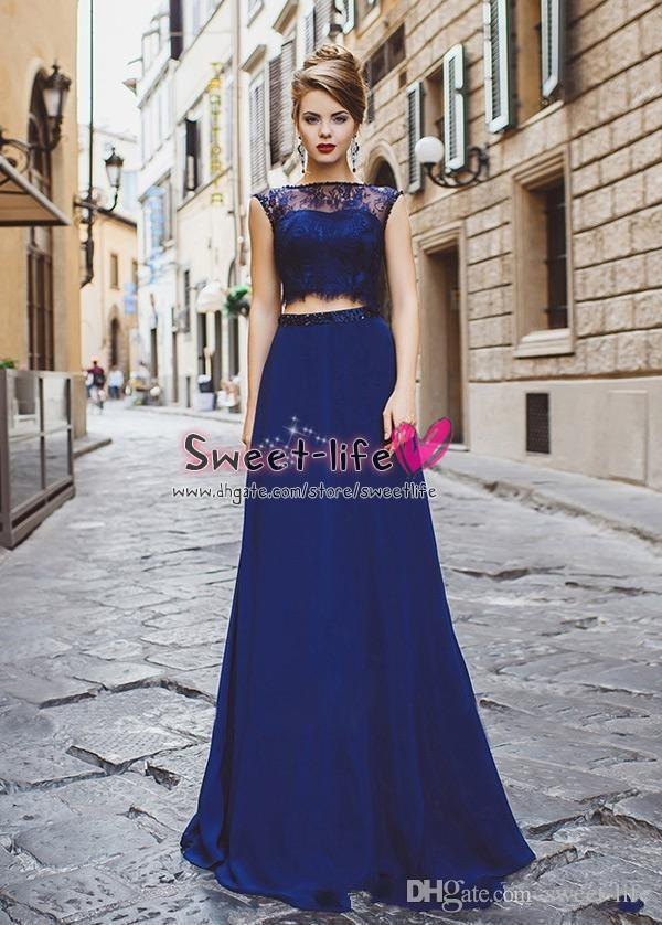 Cheap Royal Blue Two Piece 2017 A Line Prom Dresses Jewel Lace ...