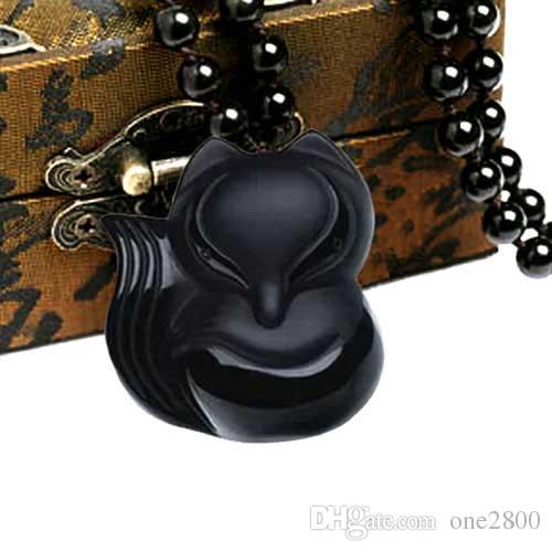 Charme 43x38mm 36x32mm lavoro manuale cinese ossidiana nera intagliato a mano volpe volpe collana pendente amuleto donna gioielli uomo