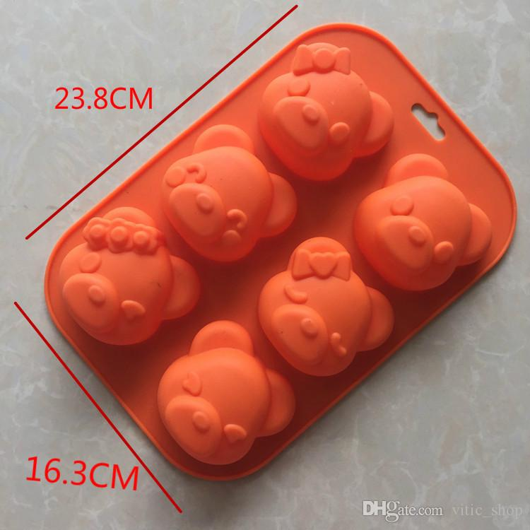 6 holes Cute bear cake mold carton silicone soap mold random animal soap molds candy color bear pig cake mold Baking tools bakeware GJM14