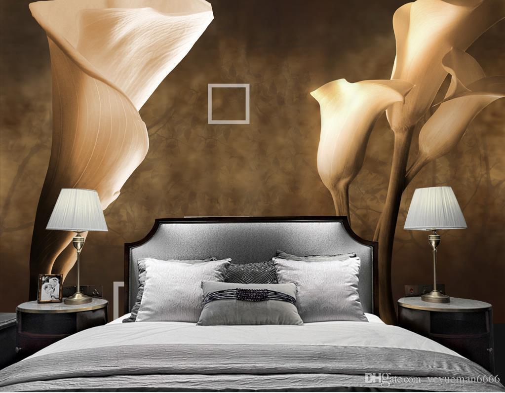 Ретро Papel де Parede Калла лилии Обои для стен 3 D Гостиная Спальня Фон