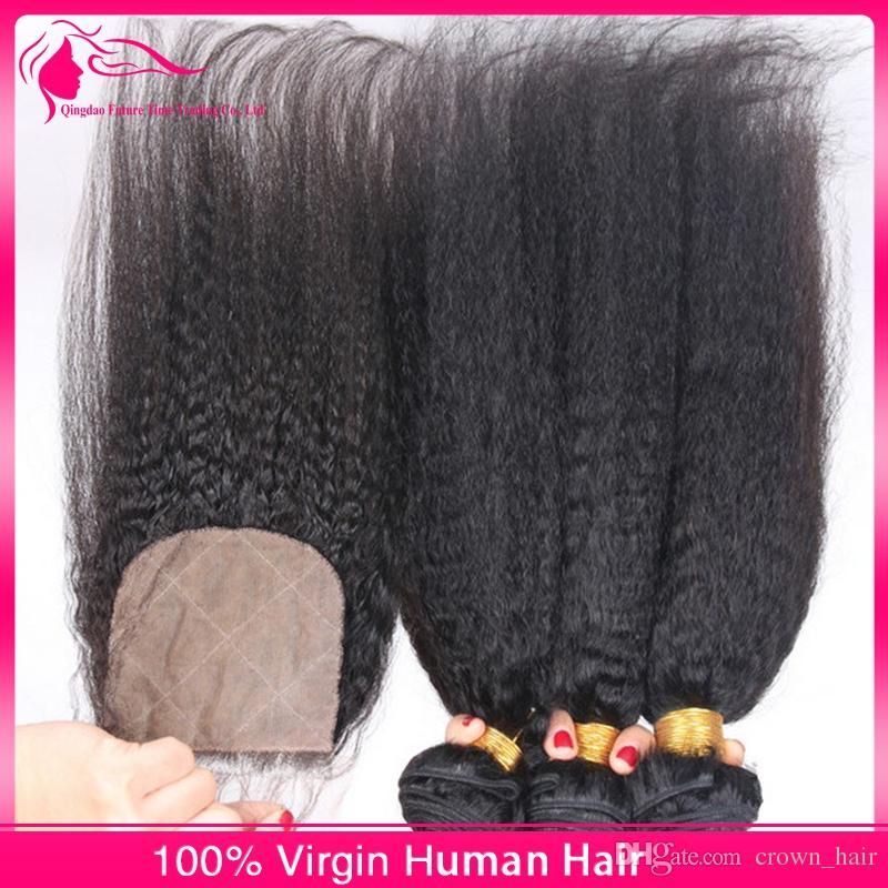 Brasilianisches reines haar lace closure mit haar spinnt verworrenes glattes haar grob yaki 3 bundles mit verschluss silk basis für schwarze frau